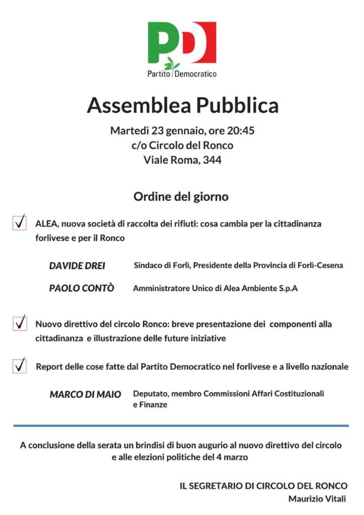 Assemblea pubblica al Ronco @ Circolo PD Ronco | Forlì | Emilia-Romagna | Italia