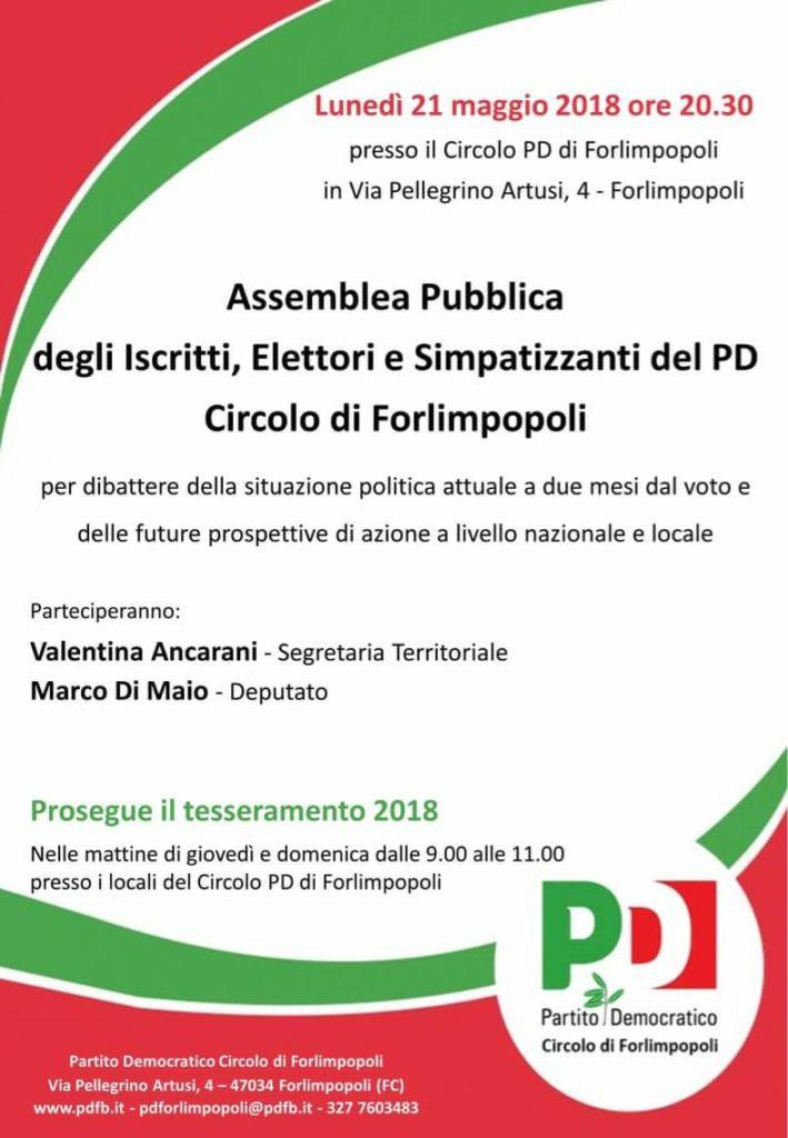 Assemblea a Forlimpopoli @ Circolo PD Forlimpopoli | Forlimpopoli | Emilia-Romagna | Italia