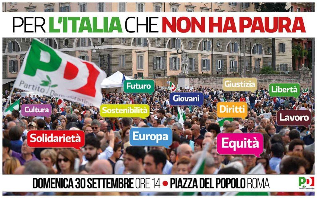 30 settembre, Manifestazione nazionale a Roma Per l'Italia che non ha paura. Pullman da Forlì