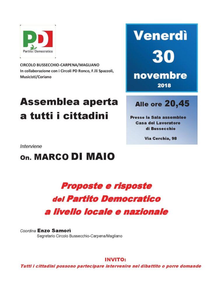 Assemblea aperta a Bussecchio con Marco Di Maio @ Sala assemblee Casa del Lavoratore | Forlì | Emilia-Romagna | Italia