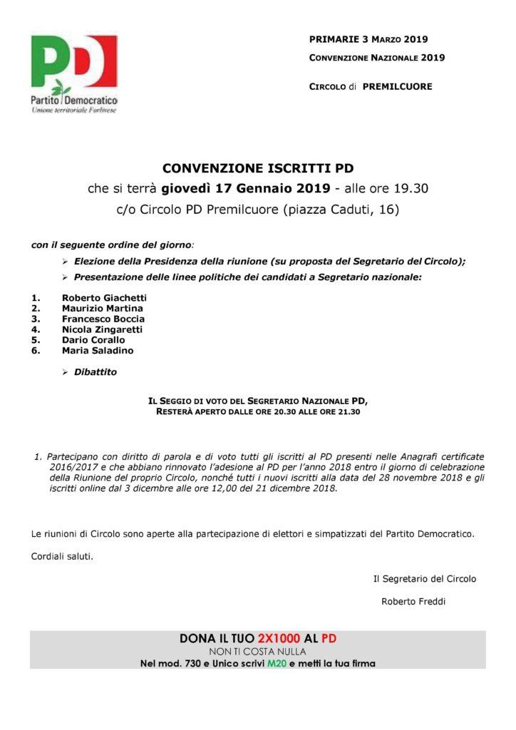 Convenzione degli iscritti PD Premilcuore @ Circolo PD Premilcuore