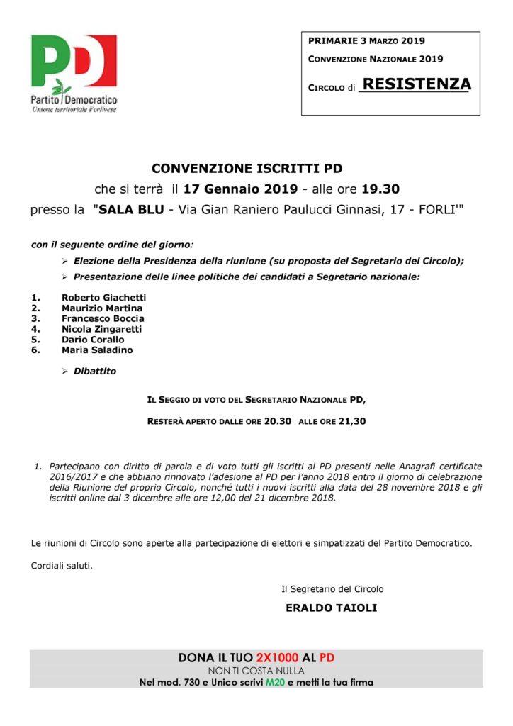 Convenzione degli iscritti Pd Resistenza @ Sala Blu c/o CDA