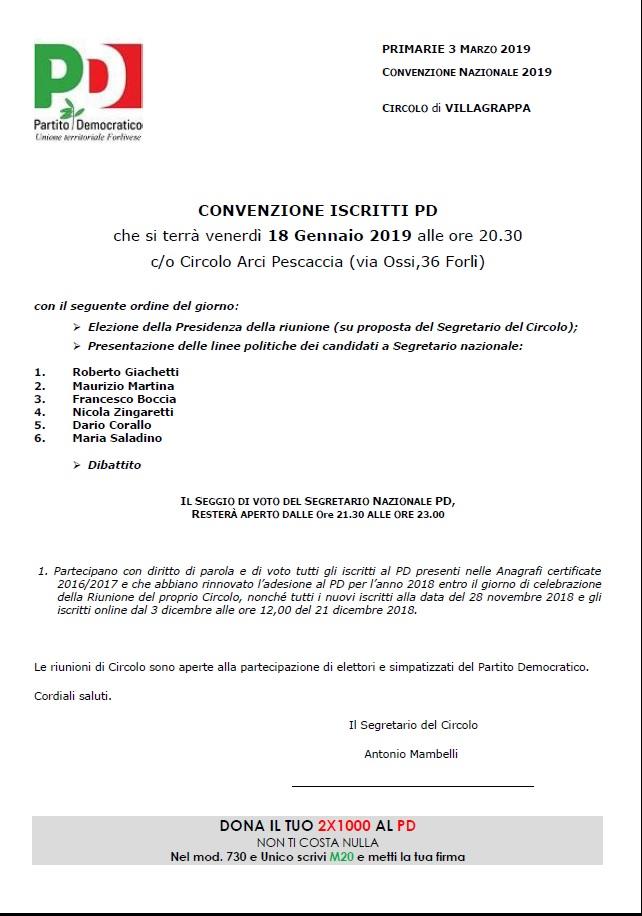 Convenzione degli iscritti PD Villagrappa @ Circolo Arci Pescaccia