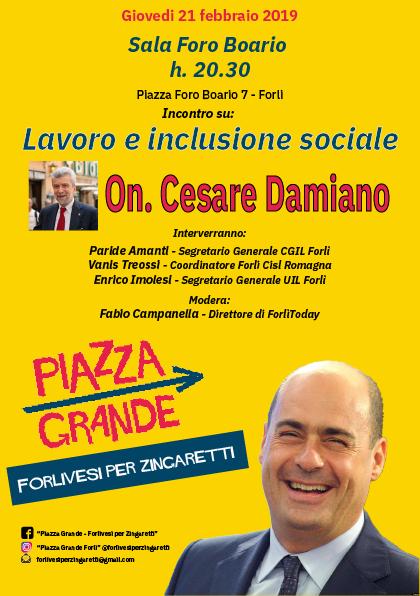 Forlivesi per Zingaretti: incontro con Cesare Damiano @ Sala Foro Boario