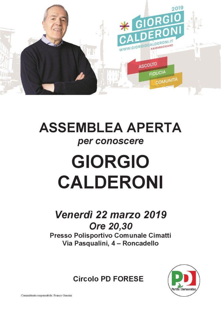 Assemblea per conoscere Giorgio Calderoni a Roncadello @ Polisportivo Cimatti